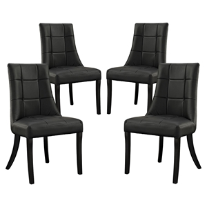 Noblesse Leatherette Dining Chair - Wood Legs, Black (Set of 4)