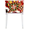 Flower Design Fabric Chair - Clear Legs - EEI-553-CLR