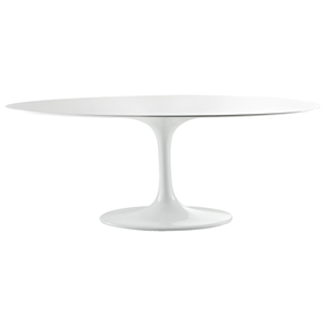 Lippa Saarinen Inspired Oval Fiberglass Top Dining Table in White