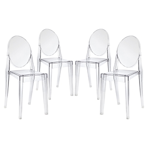 Casper Backrest Dining Chair - Clear (Set of 4)