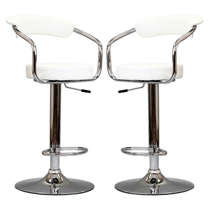 Diner Faux Leather Bar Stools - White (Set of 2)