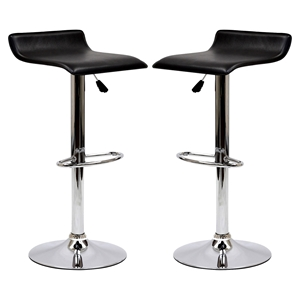 Gloria Leatherette Bar Stools - Black (Set of 2)