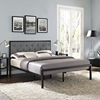 Mia Tufted Fabric Bed - Brown Gray - EEI-518-BRN-GRY-SET