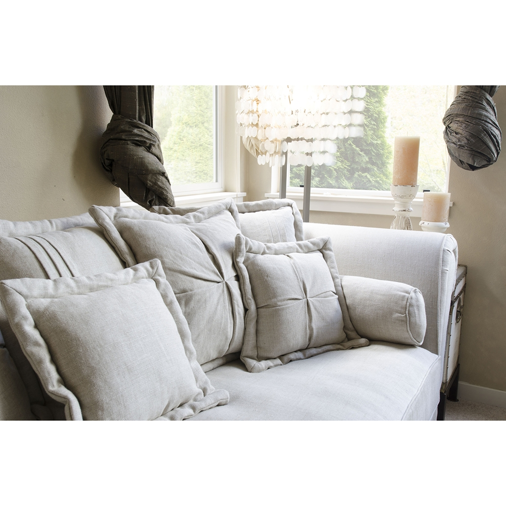 Bella 2 Piece Fabric Sectional Sofa And Ottoman Sand
