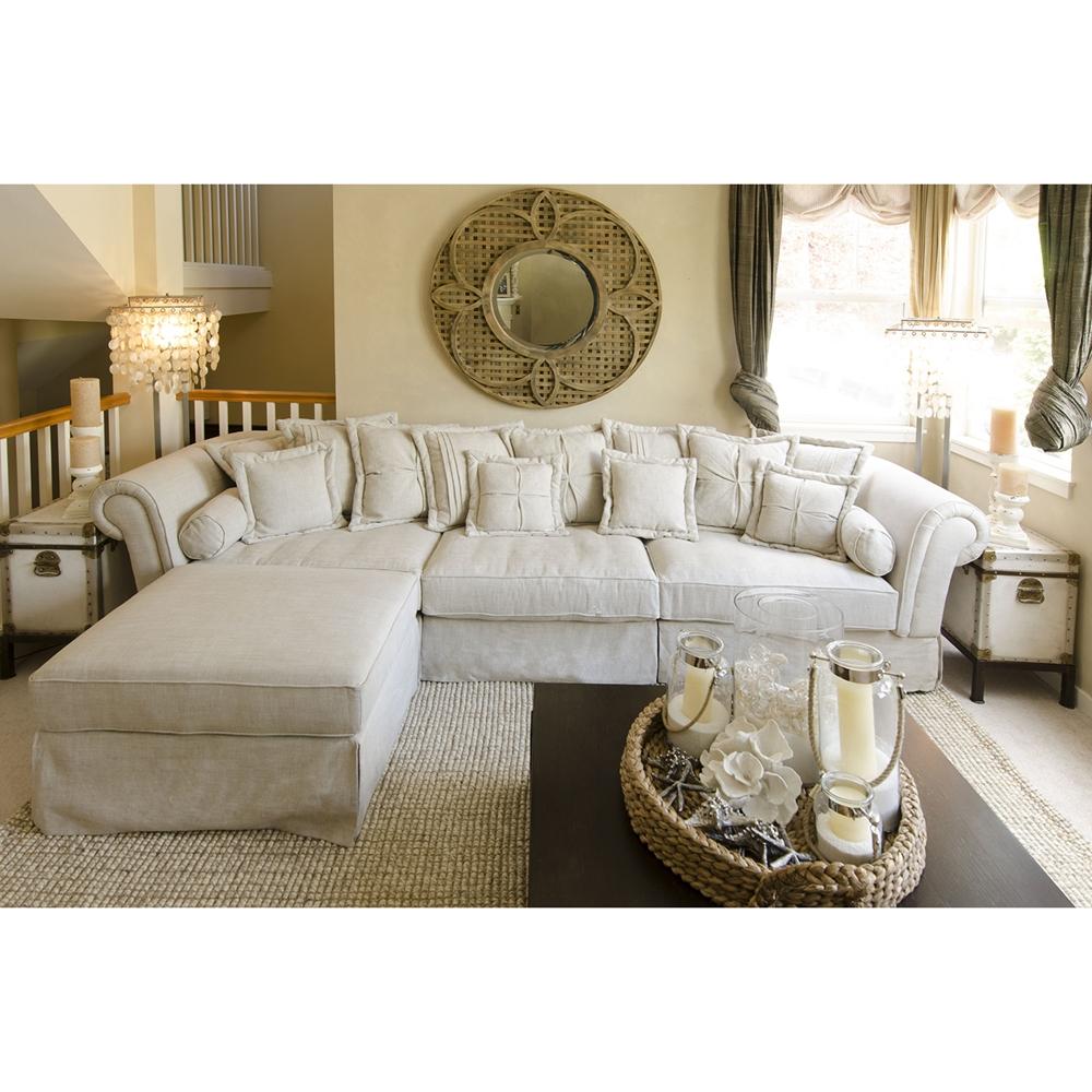 Bella 2 Piece Fabric Sectional Sofa And Ottoman Sand Ele Bel