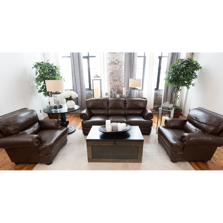 Charleston 3 Pieces Top Grain Leather Sofa Set   Toast   ELE CHR 3PC ...