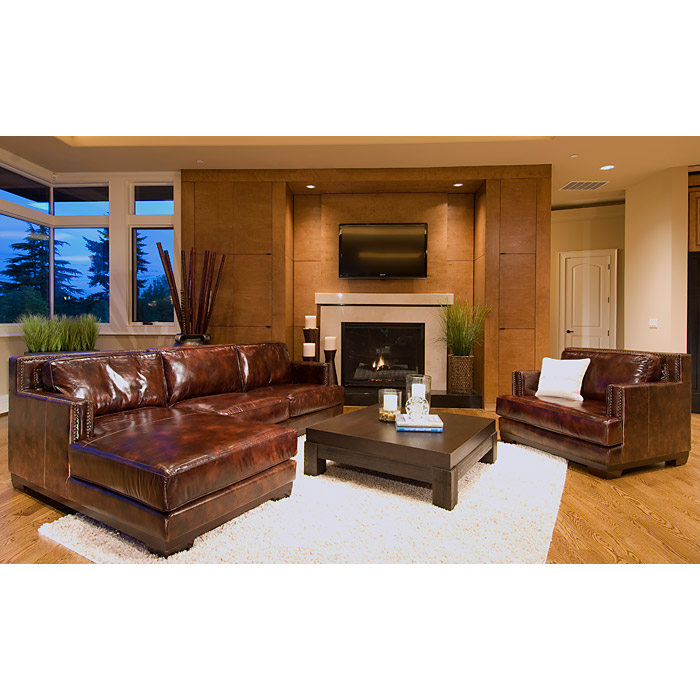 Davis Saddle Brown Leather Sectional With Left Facing