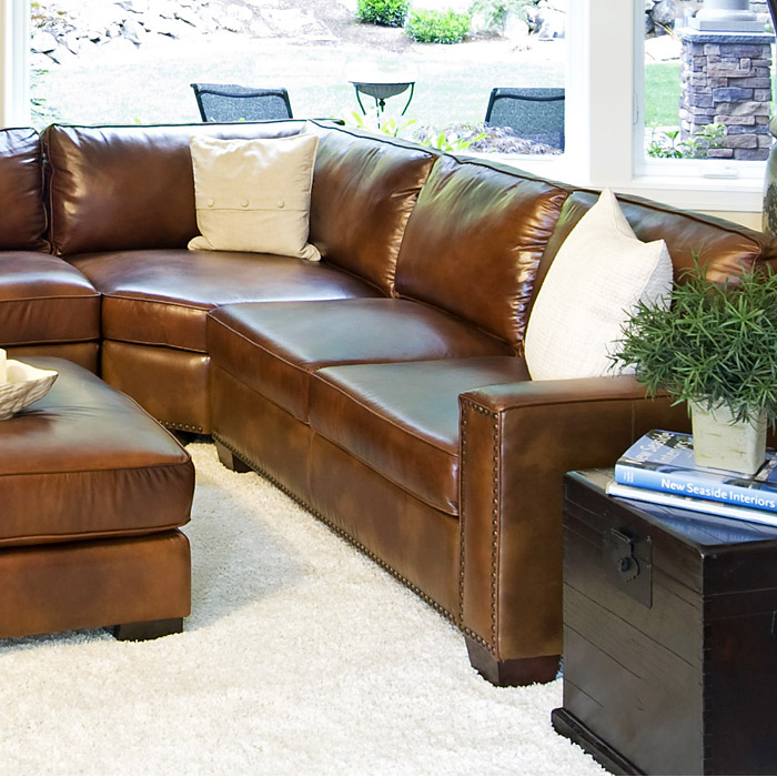 Carlyle Rustic Brown Leather Sectional And Ottoman Set Ele Car 2pc Lafl