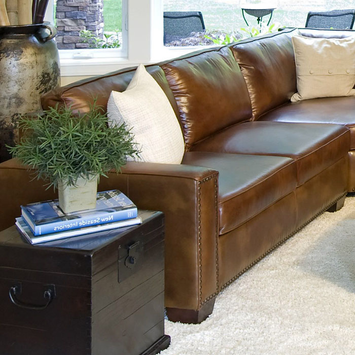Carlyle Rustic Brown Leather Sectional Sofa Dcg Stores