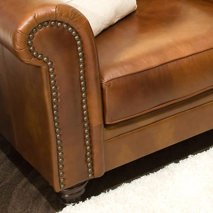 Paladia 4 Piece Leather Sofa Set In Rustic Brown Dcg Stores