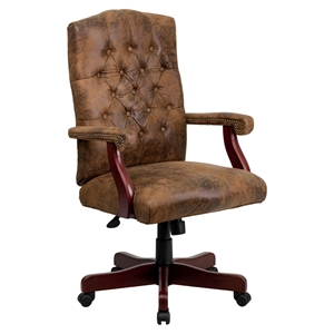 Bomber Executive Office Chair - Adjustable, Swivel, Brown