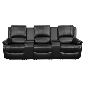 Allure Series 3-Seat Leather Recliner - Black, Cup Holders
