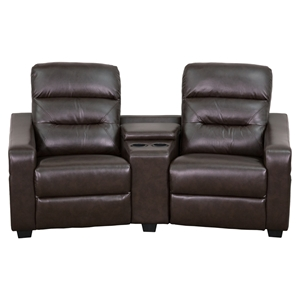 Futura Series 2-Seat Leather Theater Seating Unit - Recliner, Brown