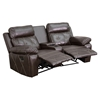 Reel Comfort Series 2-Seat Leather Recliner - Brown, Curved Cup Holders - FLSH-BT-70530-2-BRN-CV-GG