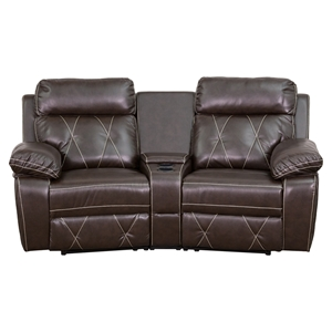 Reel Comfort Series 2-Seat Leather Recliner - Brown, Curved Cup Holders