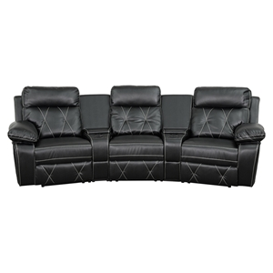 Reel Comfort Series 3-Seat Leather Recliner - Black, Curved Cup Holders