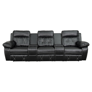 Reel Comfort Series 3-Seat Leather Recliner - Black, Straight Cup Holders