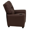 Leather Kids Recliner Chair Cup Holder Brown