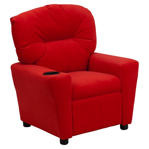 Microfiber Kids Recliner Chair - Cup Holder, Red | DCG Stores