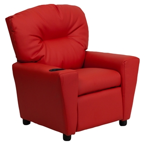 Upholstered Kids Recliner Chair - Cup Holder, Red