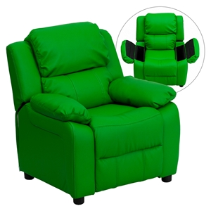Deluxe Padded Upholstered Kids Recliner - Storage Arms, Green