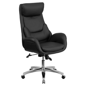 Leather Executive Swivel Office Chair - High Back, Lumbar Pillow, Black