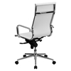 Ribbed Leather Executive Office Chair High Back Swivel White Flsh Bt