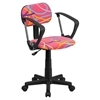 Swivel Task Chair - with Arms, Swirl Printed Pink - FLSH-BT-OLY-A-GG