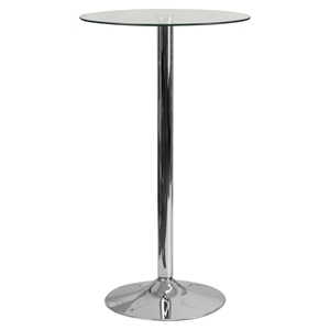 "23.75"" Round Glass Table - Clear, Chrome, Pedestal Base"
