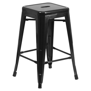 "24"" Metal Stool - Counter Height, Backless, Black"