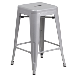 "24"" Metal Stool - Counter Height, Backless, Silver"