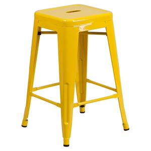 "24"" Metal Stool - Counter Height, Backless, Yellow"