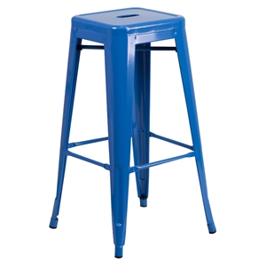 "30"" Backless Metal Barstool - Blue"