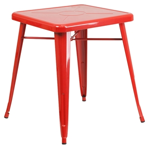 "23.75"" Square Metal Table - Red"