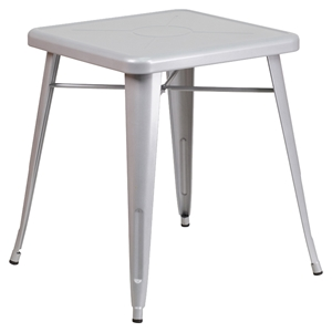 "23.75"" Square Metal Table - Silver"
