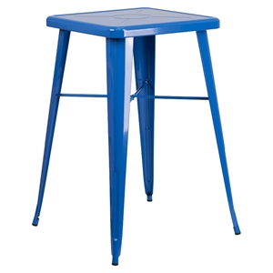 "23.75"" Square Metal Table - Bar Height, Blue"