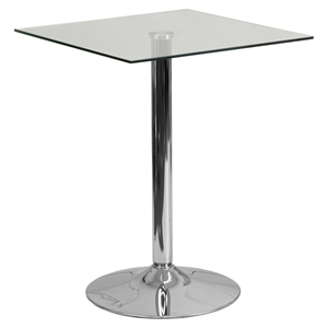 "23.75"" Square Glass Table - Clear, Chrome, Pedestal Base"