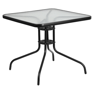 "31.5"" Square Bistro Table - Black, Tempered Glass Top"