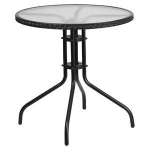 "28"" Round Metal Table - Glass Top, Black Rattan Edging, Black"
