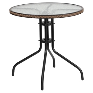 "28"" Round Metal Table - Glass Top, Dark Brown Rattan Edging, Black"