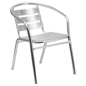 Stack Chair - Triple Slat Back, Integrated Arms, Aluminum