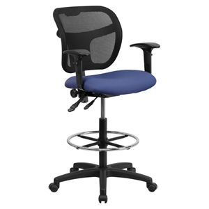 Mid Back Mesh Drafting Chair - Height Adjustable Arms, Navy