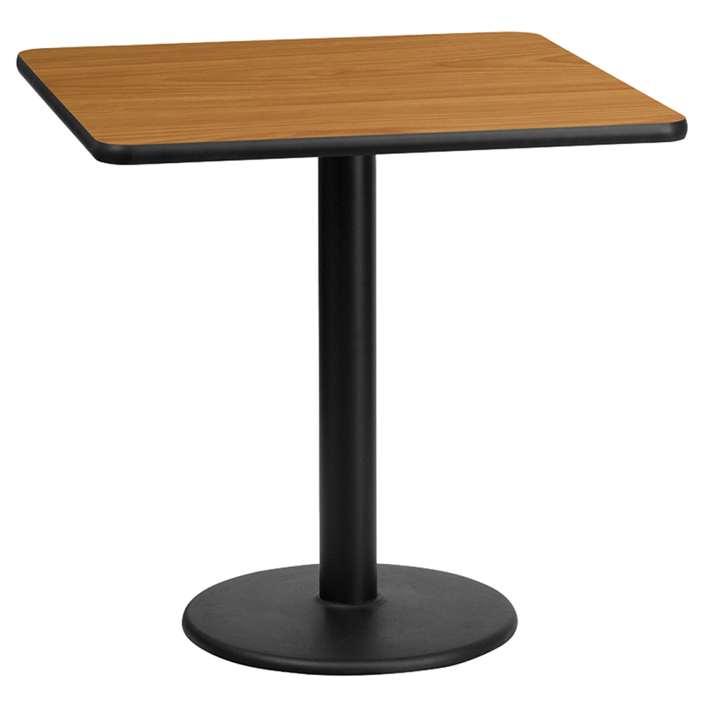 24 Square Dining Table Black Natural 18 Round Pedestal Base Dcg S