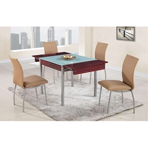 Leonardo 5-Piece Dining Set with Four Beige Upholstered Side Chairs