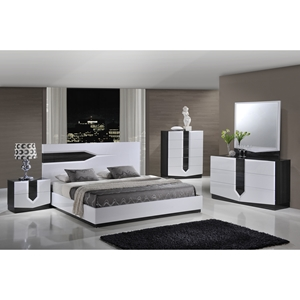 Hudson Bedroom Set, High Gloss Zebra Gray and White
