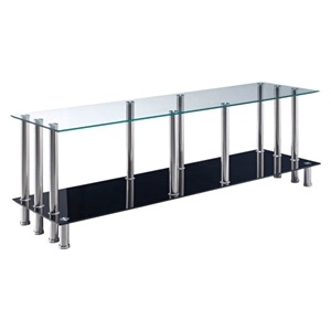 Valeria TV Stand - Clear and Black Glass, Stainless Steel Legs