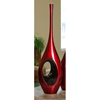34.5 Inch Tall Red Black Hole Vase