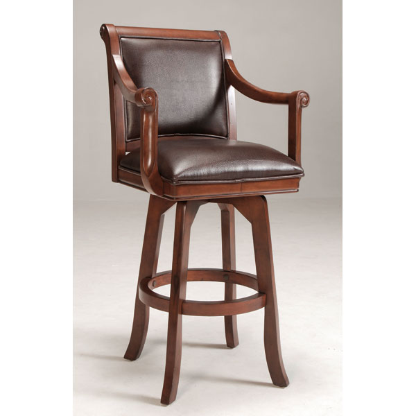 "Palm Springs 30"" Swivel Bar Stool - Brown Cherry, Brown Leather"
