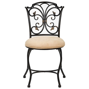 Sparta Vanity Stool with Black Gold Frame