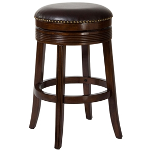 "Tillman 30"" Backless Bar Stool - Fluting, Nail Heads, Espresso"